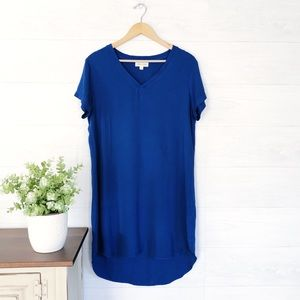 Cloth & Stone Blue V Neck Mini Hi Low Dress